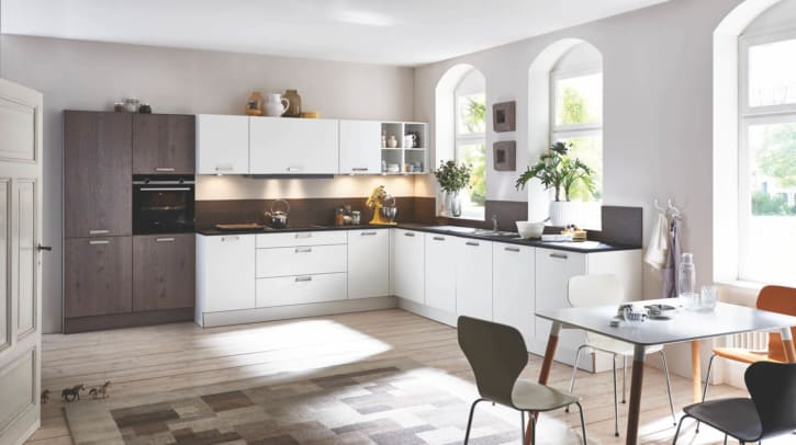 Große Schwarz Weiße Eichen L Küche 1