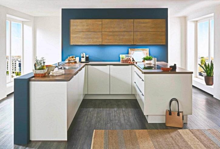 Große U Küche Lack Weiß Matt 1
