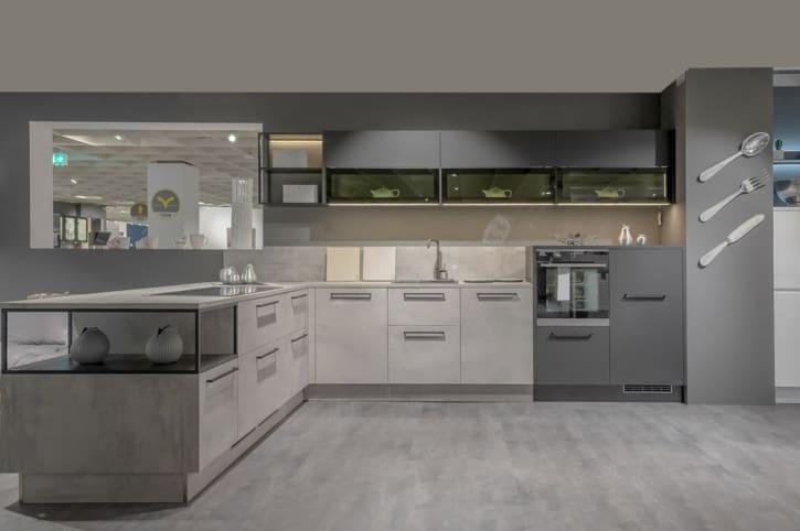 Nolte L-Küche Melaminharz Beton