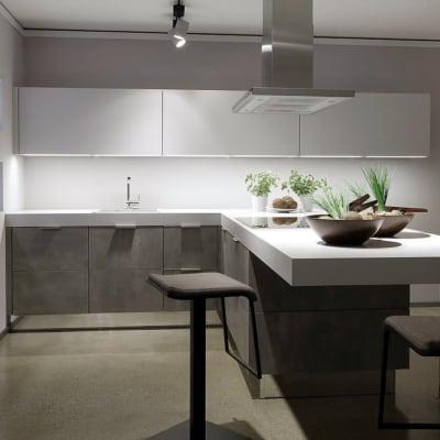 L Form Küche Lack weiß Beton 17