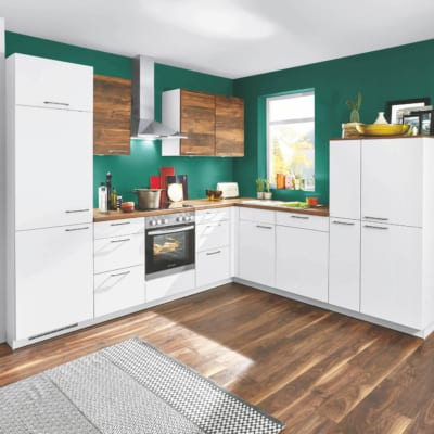 L Küche in Alpinweiß mit Balkeneichen Muster 87