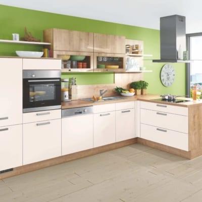L Küche Magnolie Eiche Lack 39