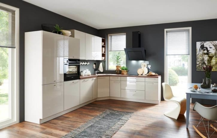 L-Küche Hochglanz Lux - Lack Sahara 1