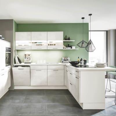 Modern Weißbeton U Küche 13