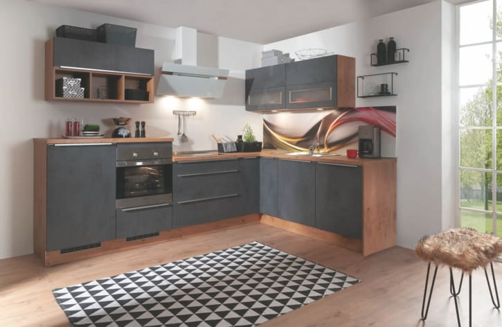 Moderne Burger L-Küche in matt schwarz und hell braun 1
