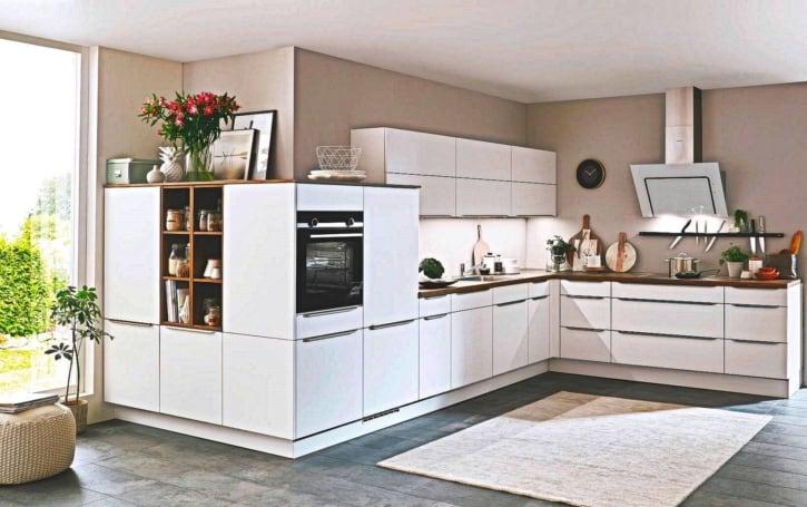 Moderne Premium Alpinweiß Eck Küche 1