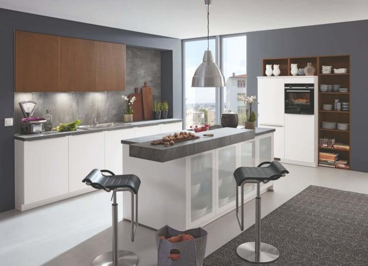 Moderne Weiß Seidenmatt/Scuro U Küche mit Mittelinsel 1