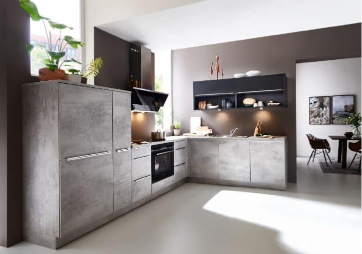 Nolte L Küche Beton Schwarz softmatt 1