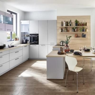 Nolte U Küche Platingrau Lavendel mit Tisch 22