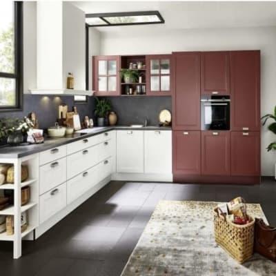 Nolte moderne Landhaus Küche Weiß Hennarot 14
