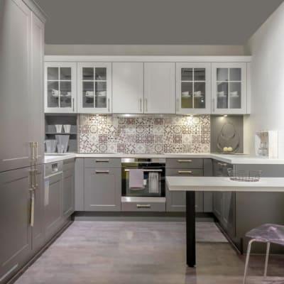 Impuls Landhaus Küche Grafit Weiß G-Förmig 2