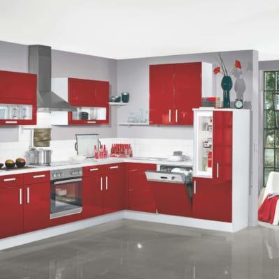 Moderne L Küche rot Lack Hochglanz 17