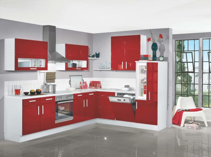 Moderne L Küche rot Lack Hochglanz 1