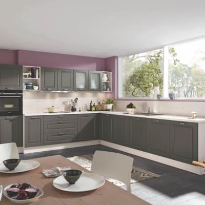 Quarzgraue L-Küche im Landhausstil 37