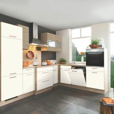 Sandfarbende L Küche mit Eichen Ton 11