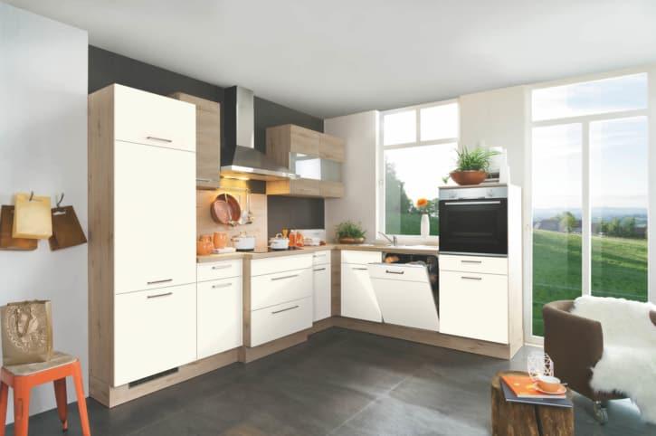 Sandfarbende L Küche mit Eichen Ton 1