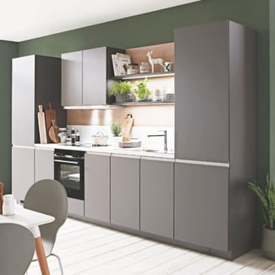 Schiefergraue Küchenzeile mit Carrara Motiv 29