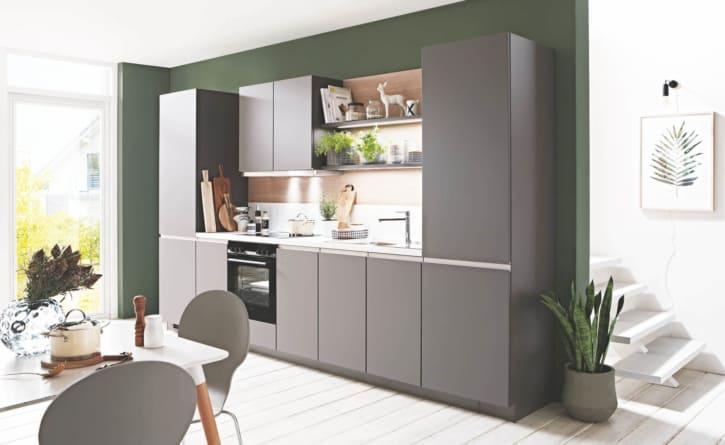 Schiefergraue Küchenzeile mit Carrara Motiv 1