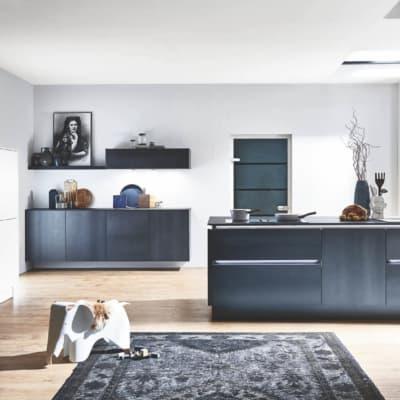 Schwarz Weiße Große Design Inselküche 11