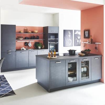 Stahl Graue Inselküche mit Siemens Geräten 17