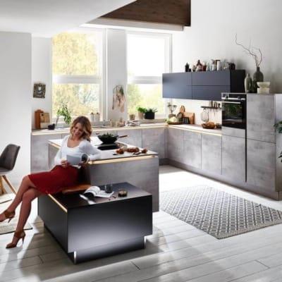 Nolte Inselküche U Form Beton 7