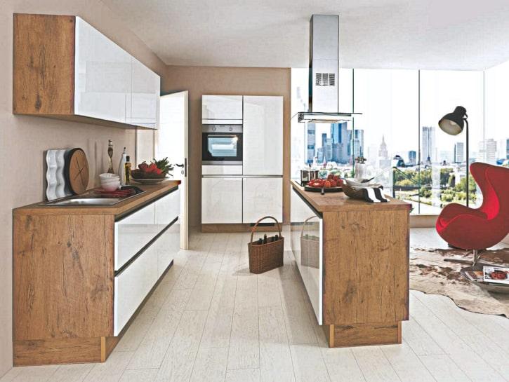 U Insel Küche Weiß Dunkel Holz 1