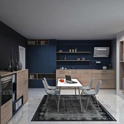 U Küche Asteiche Natur Lack Ozeanblau matt 37
