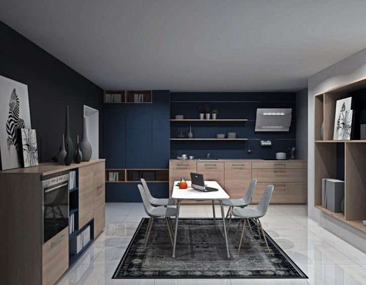 U Küche Asteiche Natur Lack Ozeanblau matt 1