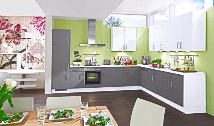Weiß Graue Moderne L Küche 1