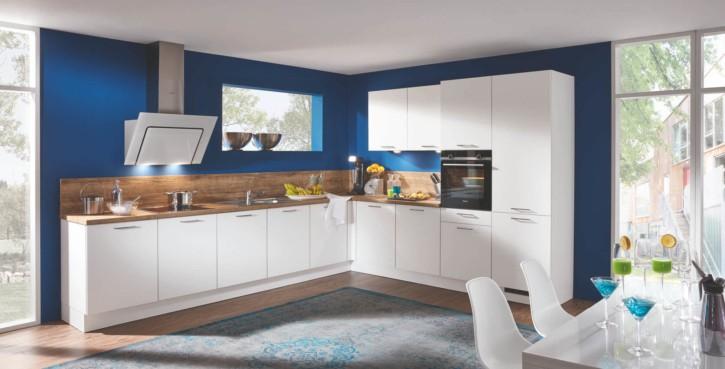 Weiße Große Perlstruktur L Küche mit E-Geräten 1