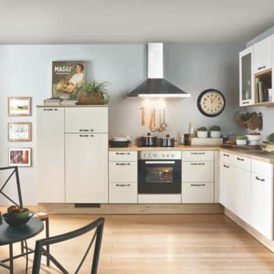 Weiße L Küche mit Eichen Korpus 39