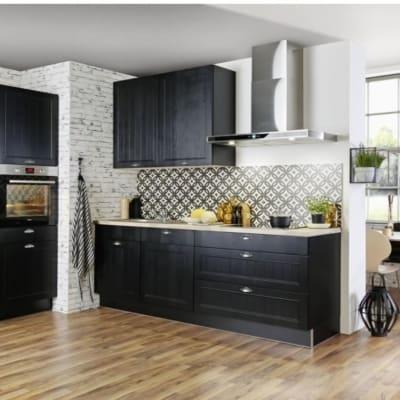 kleine zweizeilige Küche Schwarz seidenmatt 33