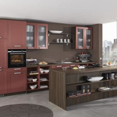 zweizeilige Küche Marsala seidenmatt lackiert 10