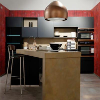 Bauformat Küche mit Theke Berlin Glas Schwarz 9