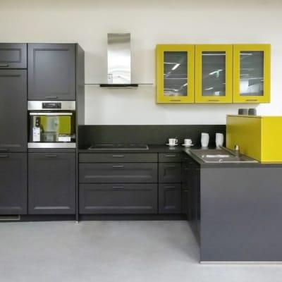 Bauformat L Küche Carbon Seidenmatt Lackiert