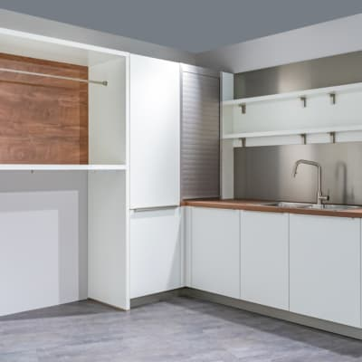 Bauformat L Küche Weiß seidenmatt