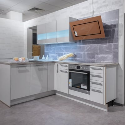 Nobilia T-Küche Seidengrau Hochglanz
